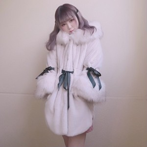【予約販売】Ribbon & hood eco fur coat