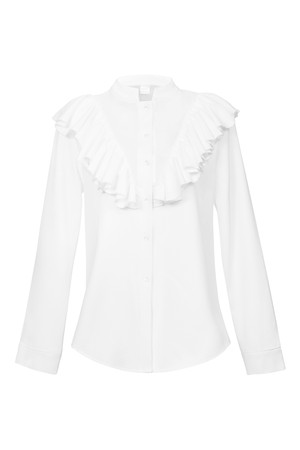 Woven Organza V Ruffle Shirt White