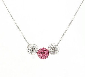 ラインストーンパヴェボールネックレス pve-neckrose3 クリスタル&ローズ(ピンク) パヴェ キラキラ