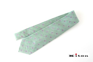 キートン|KITON|シルク×リネン素材ネクタイ|小紋|グリーン