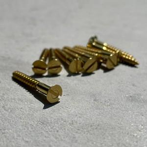 真鍮無垢 アンティーク皿ネジ(-)3.8×32mm 10本