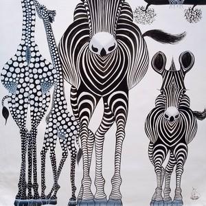 『 Animals in white 』 Big-Tingatinga by Zuberi  50*70cm