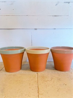 テラコッタ 植木鉢 (グリーン/アイボリー/ブラウン) ※Φ21cm(7号鉢サイズ)