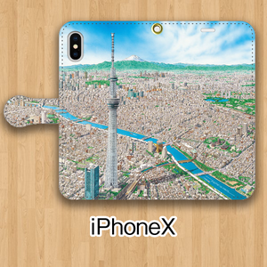 【受注生産】パノラマ「浅草」iPhoneX用 手帳型ケース