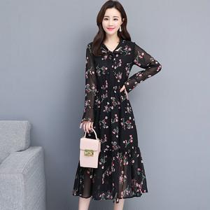 【dress】花柄ワンピースシンプル長袖ハイウエストスリムリボンカラー