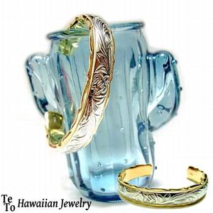 【HawaiianJewelry / ハワイアンジュエリー】 バングル ゴールド スチールシルバー ホヌ プルメリア