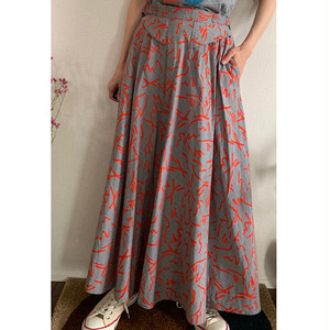70's Vintage skirt Grey Red abstract print Maxi skirt