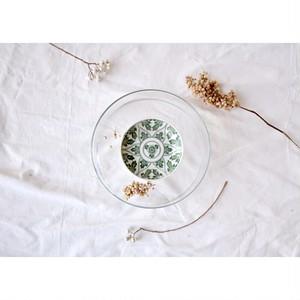 【印判小皿 -緑の牡丹- 】アンティーク