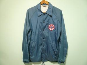 USビンテージ 古着 ナイロン 裏地付き コーチジャケット 紺 ネイビー 刺繍ワッペン付き