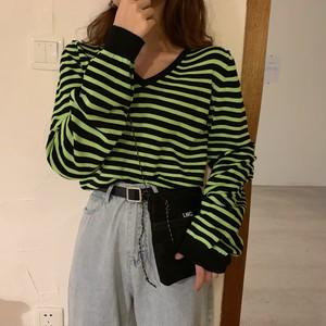 【トップス】定番ボーダーVネック配色カジュアルTシャツ