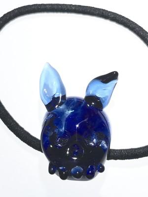 ブルーのマーブル髑髏 ウサ耳付 ヘアゴム