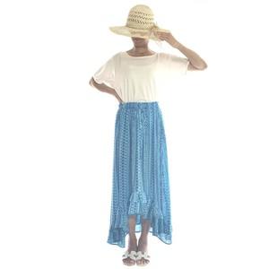 フィッシュテールロングスカート&ワンピース ボヘミアン  #light blue ×blue