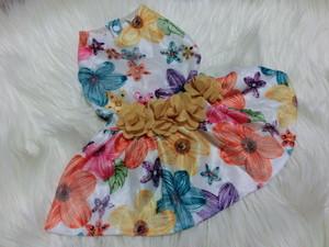 ★かわいい犬服ワンピ/ドレス  ビビッドフラワーワンピ