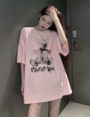08089 レディースファッション カットソー Tシャツ クマさんプリント 半袖 新作