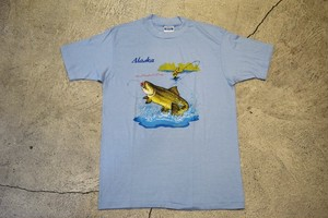 USED ALASKA Fishing T-shirt 80s Hanes made in USA T0306