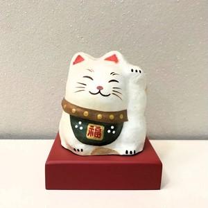 印鑑立て 招き猫(白)