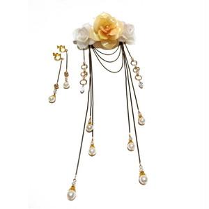 薔薇と朝露の光 髪飾りと耳飾りのセット 宝塚 タカラヅカ