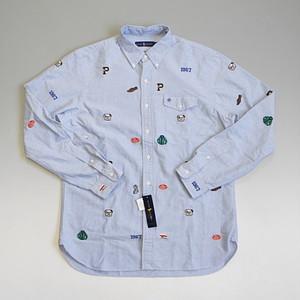 POLO RalphLauren ポロ・ラルフローレン 刺繍ワッペンデザイン オックスフォードボタンダウンシャツ ブルー