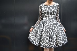 VINTAGE black dots dress