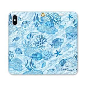 【iPhoneケース/手帳型】珊瑚と魚の青い煌めき