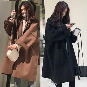 【アウター】人気上昇中韓国系無地折り襟長袖コート25001468