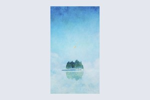 湖に浮かぶ、月と森を描いた、画像データ