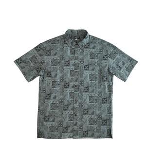 Mountain Men's ボタンダウンアロハシャツ / Tapa quilt /  Black