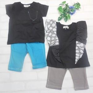 双子ベビー服2枚セット ミックスツイン  双子ベビー服 ミックスツイン フリルノースリーブカットソーと切りっぱなし胸ポケット半袖Tシャツセット(黒)<19ss-mt008f-3>