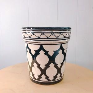 モロッコ アラベスク柄陶器鉢 ブラック