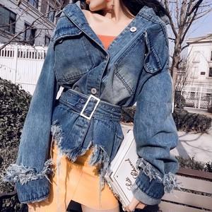 【即納】damage denim belt jacket