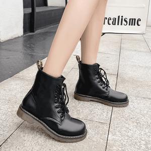 【シューズ】ファッション丸トゥミドルヒールショート丈ブーツ