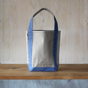 "BAGUETTE TOTE SMALL ""BEIGE/ SLATE-BLUE"""