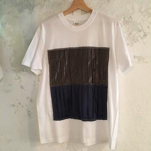 【リメイク着】 プリーツTシャツ 紺茶