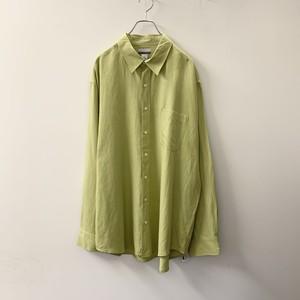 BREAKWATER ライムグリーン シルク/リネン/コットン シャツ size XL メンズ 古着