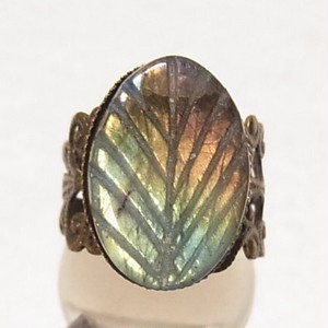 天然石リング  ラブラドライトの石の指輪 フリーサイズ  5788R