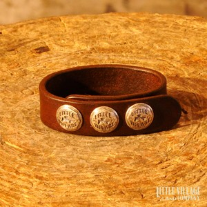 "Leather Bracelet w/ 3 Buttons / ""M,L"" / Silver 925 / Brown"
