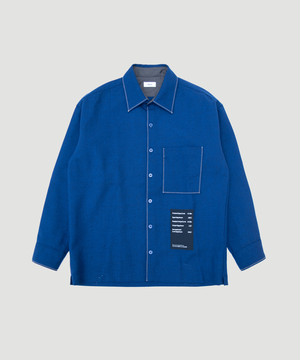 Allege Wool Stitch Shirt Navy AH19W-SH03