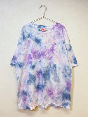 【XXLサイズ】手染めTシャツ(マーブル染め)