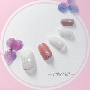 Pukeネイル [No.197]オフィス/可愛い♡・出かけ・♡v♡ジェイルネイルチップ