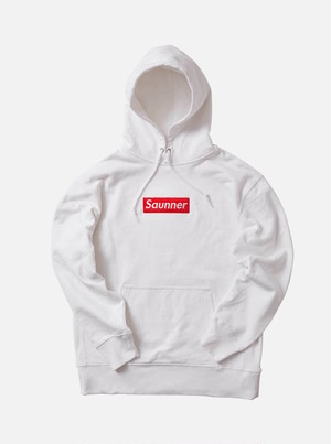 Saunner Box Logo Hooded Sweatshirt - White