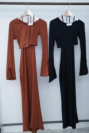 Mame Kurogouchi / Ribbed Jersey Multi-Way Dress( BLACK / BROWN )