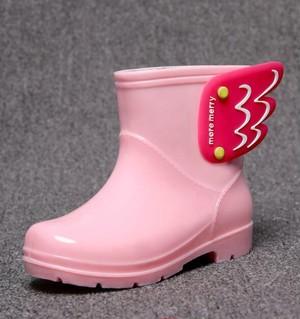 7862雨靴 キッズ  子供 子ども  ジュニア 長靴   女児 女の子 レインブーツ 男児 男の子 レインシューズ ショートブーツ 滑り止め 14cm-22cmピンク