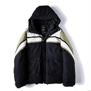 送料無料/メンズ/大きいサイズ/黒/ポイントボーダー/フード/中綿ジャケット