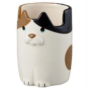 【三毛猫】メガネ&ペンカップ【みけ 眼鏡入 ペン立て 猫雑貨】