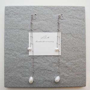 pearl long pierced earrings 【2】 ✦ 淡水パール シルバー ロングピアス