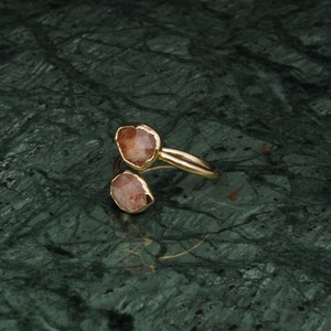 DOUBLE STONE OPEN RING GOLD 016
