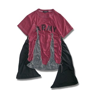 Remake Flare ARMY T-shirt -Wine