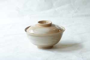 清水焼 手づくり 蓋付き 刷毛目 飯碗(小鉢)