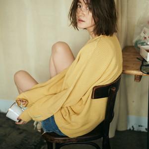 Yellow oversized knit sweater