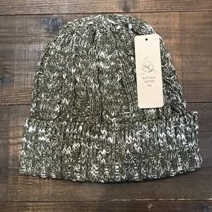 アウトドアオーガニックコットンニット帽 オリーブ